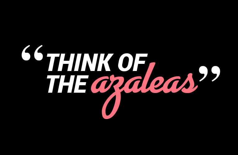 """Think of the Azaleas"" 