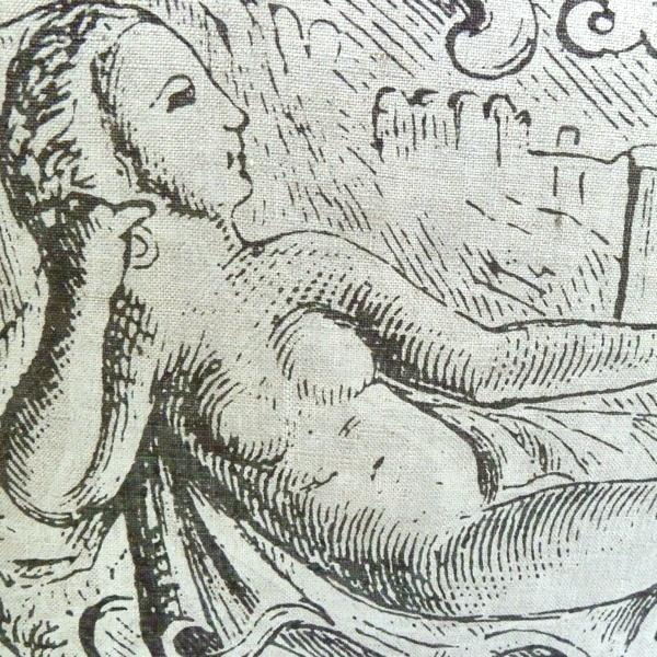 Handgewebtes Leinen mit Detail aus dem Motiv Liegender Frauenakt