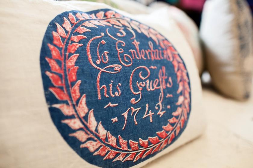Motive, To entertain his guests, Leinen, Siebdruck