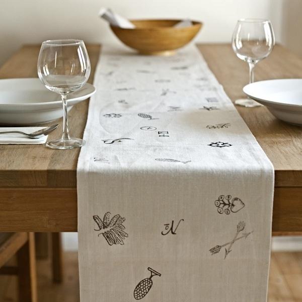 Tischläufer handgewebtes Leinen, Motiv Arkadien