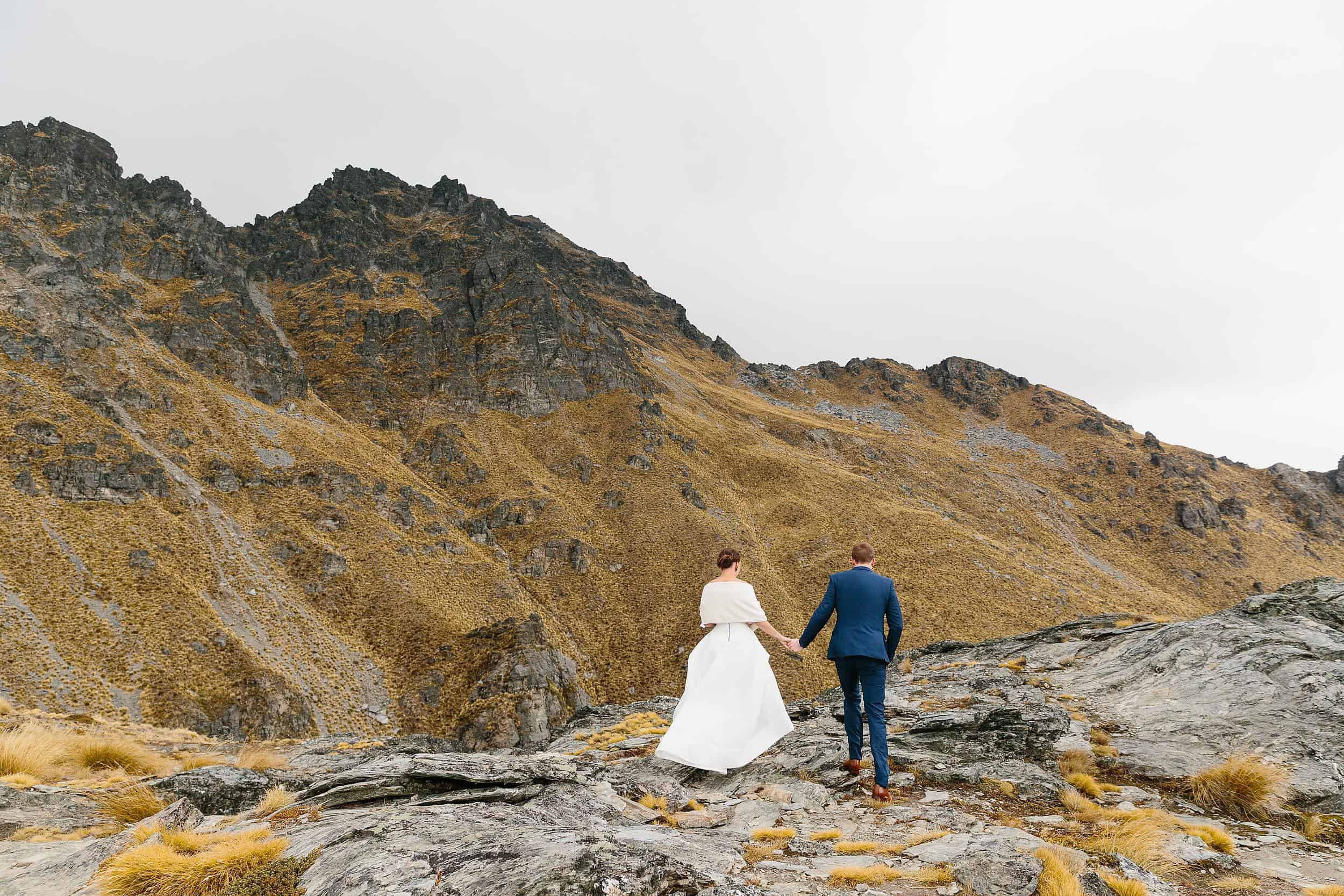 Bride and Groom on Cecil Peak, New Zealand