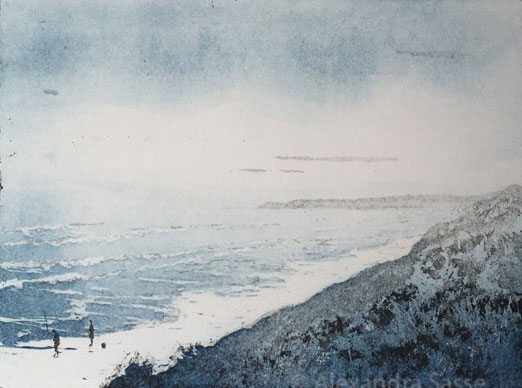 Beach Fishing by Alexandra Sasse. Aquatint Etching