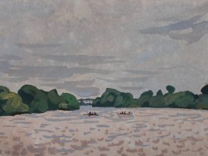 Thames landscape (Summer drizzle, Mortlake 2) by Mark Dober
