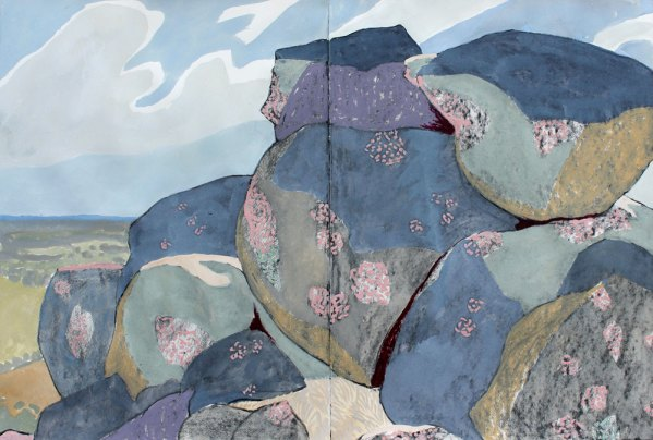 Mark Dober painting Rocks with Clouds, Nuggetty Hills