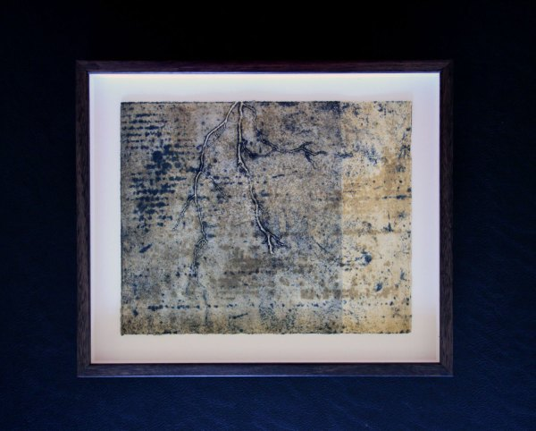Earthworks 8, intaglio and relief print by Helen Mueller framed