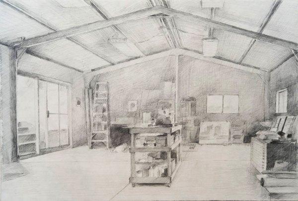 'Studio interior' 2019. Graphite on Saunders Waterford paper, 38 x 57cm. Evan Salmon
