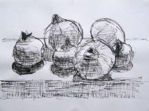 'Pomegranates' by Hendrik Kolenberg Pen and ink