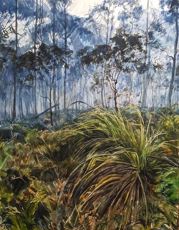 Watercolour painting 'Mist renders blue' Phillip Edwards 2021