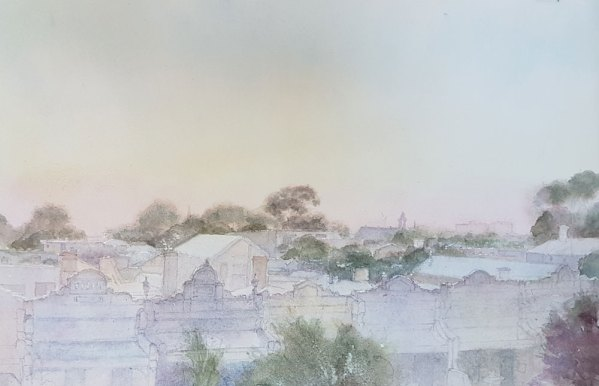 Painting 'Carlton rooftops, clear morning' Alexandra Sasse