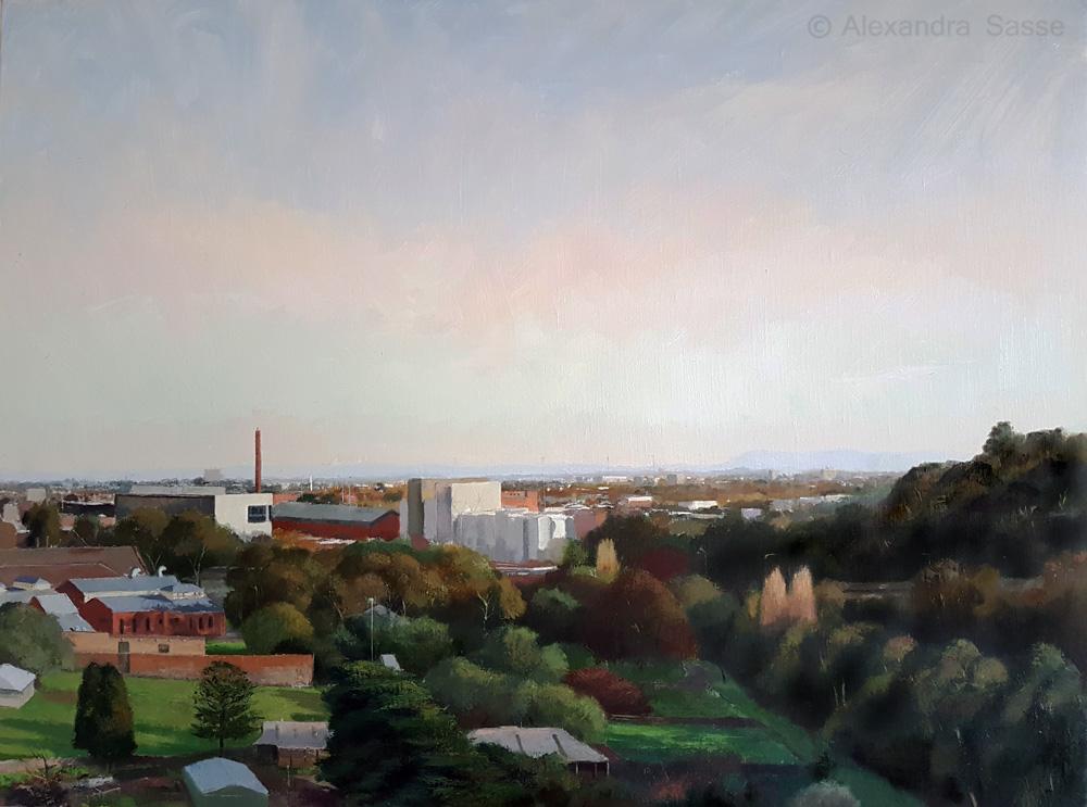 Australian landscape painting 'Abbotsford from Studley Park' Alexandra Sasse