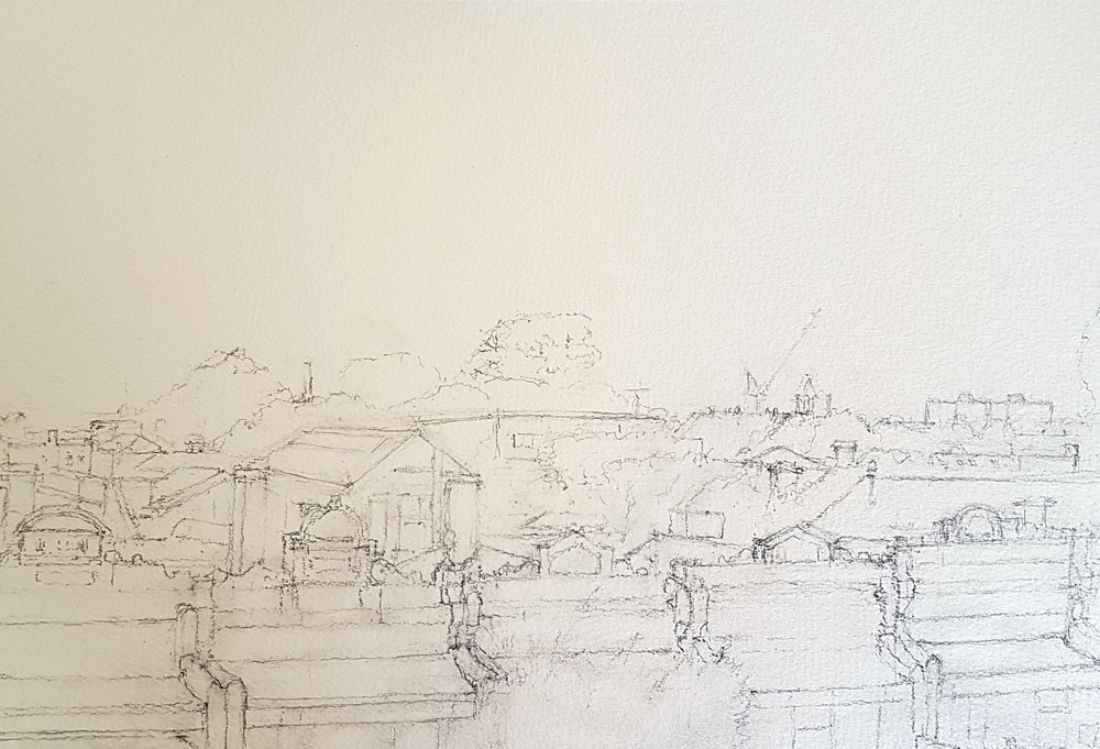 Drawing in pencil of Carlton Rooftops by Alexandra Sasse