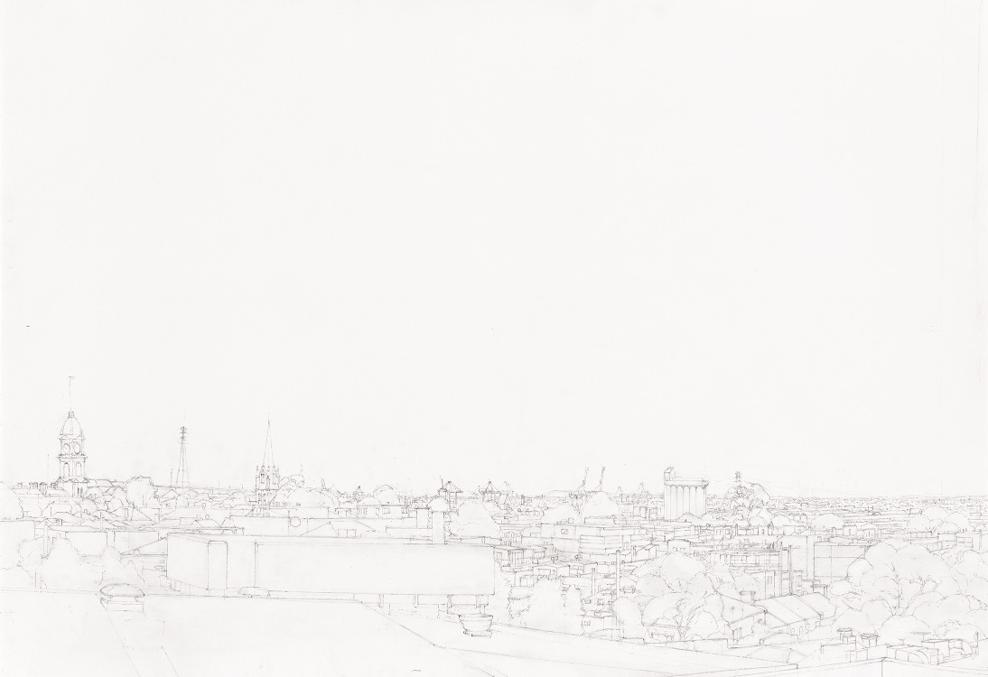Image of landscape pencil drawing of North Melbourne by Alexandra Sasse