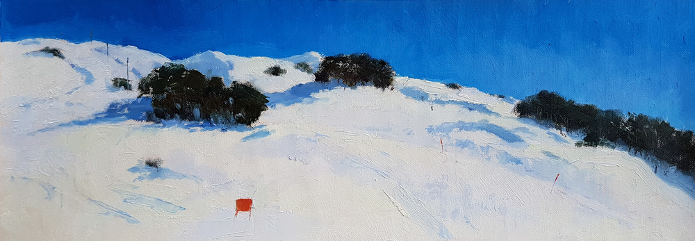 Painting of Falls Creek in winter in fine weather