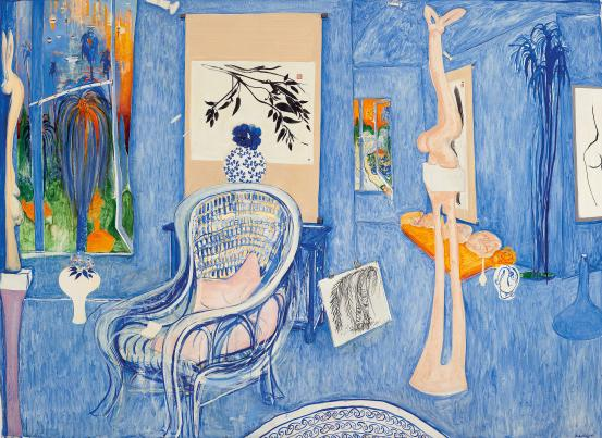 Large pale blue and orange painting of interior with armchair by Brett Whiteley. 1976
