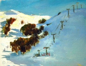 Australian Landscape Paintings 'Summit T-bar, Fine Weather' Alexandra Sasse 20 x 24.5cm