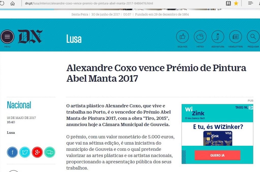 DN – Alexandre Coxo vence Prémio de Pintura Abel Manta