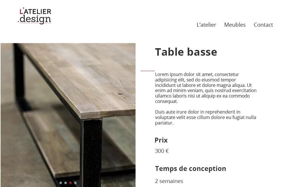 Page site web Atelier Design