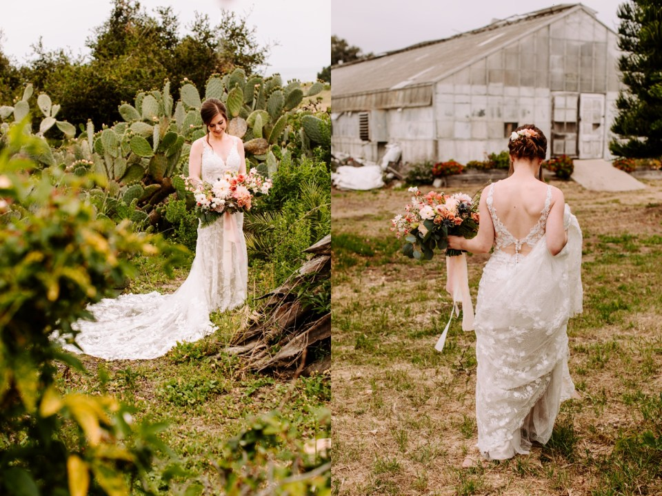 bride portraits at dos pueblos orchid farm