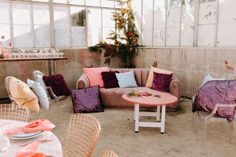pink and purple wedding lounge