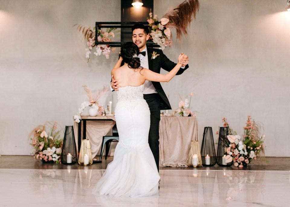first dance at wedding reception at Hangar 21 South