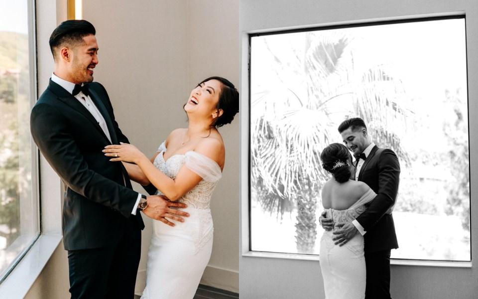 first look between bride and groom