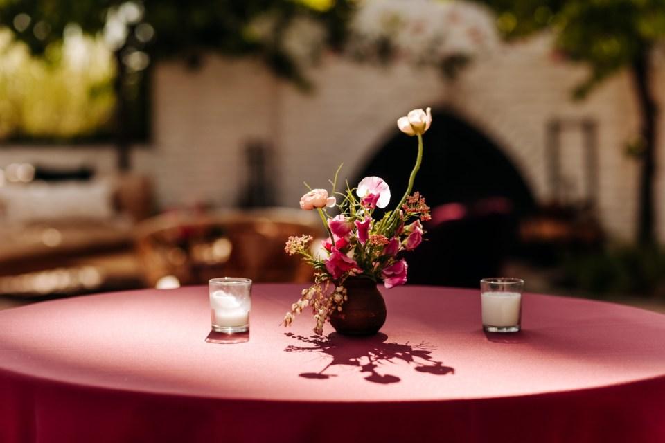pink, orange and peach floral arrangements