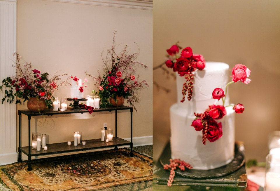 white wedding cake decorated with bright pink flowers