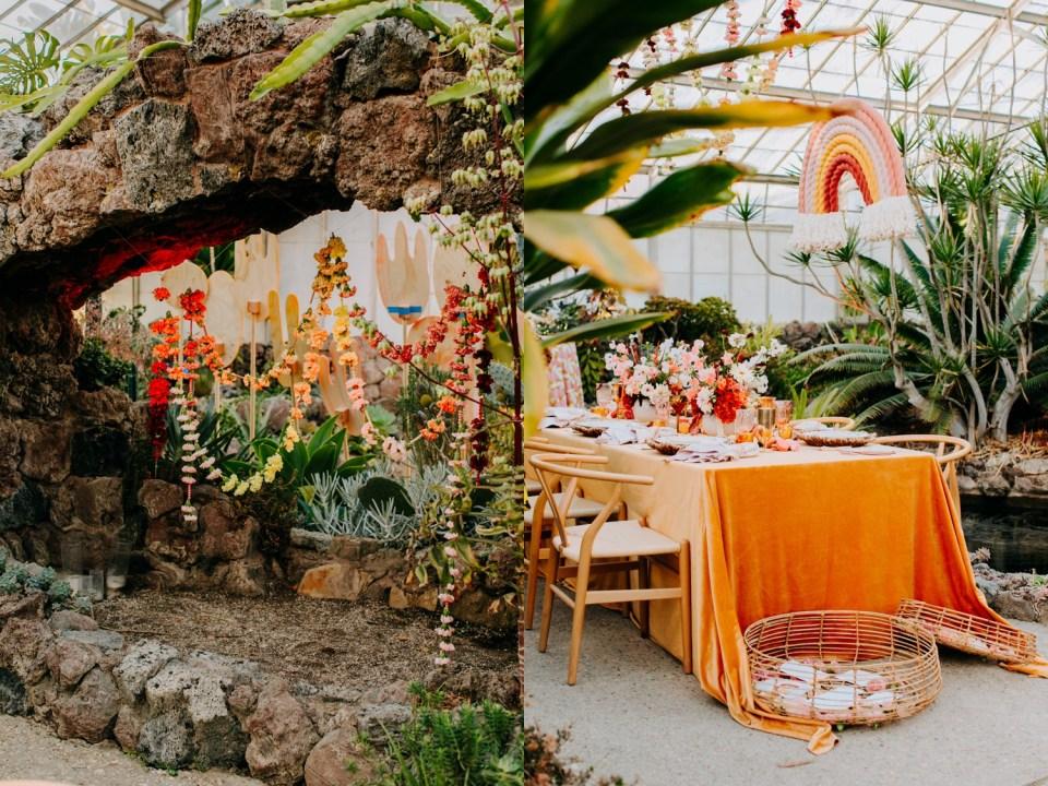 bohemian rainbow wedding table inspiration