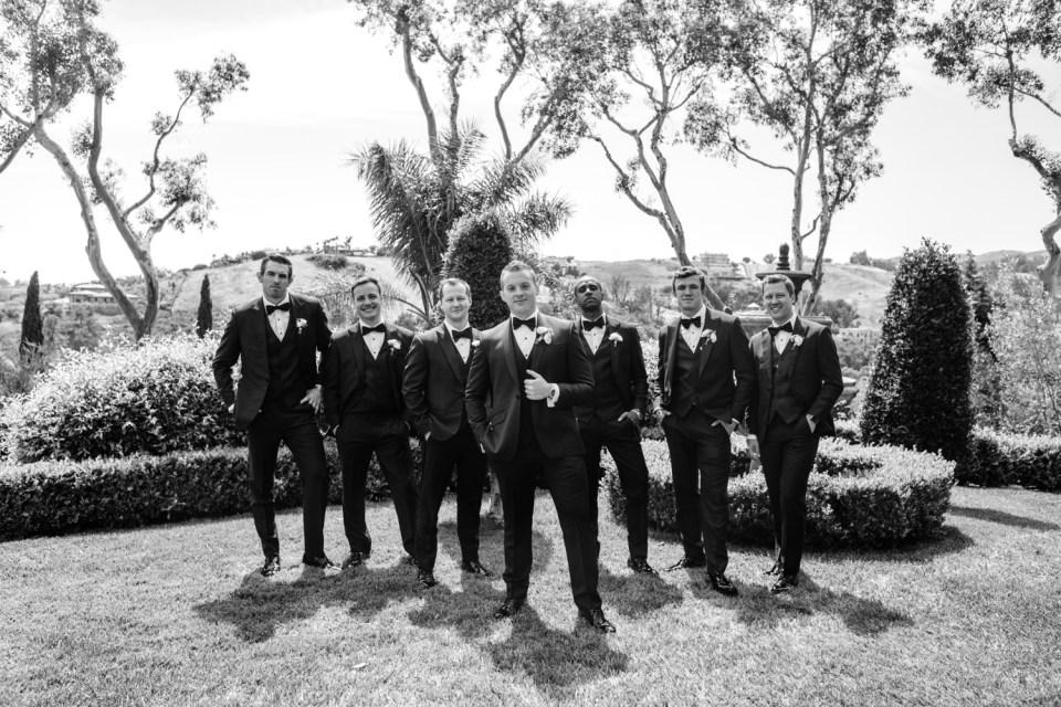 elegant wedding party in navy blue