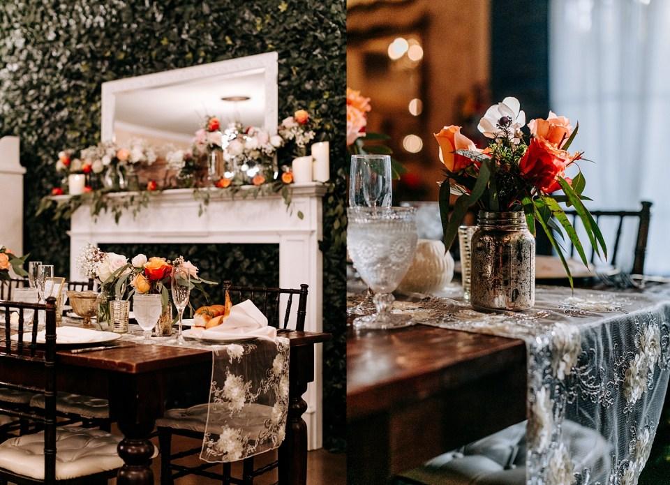 orange and white wedding floral centerpieces