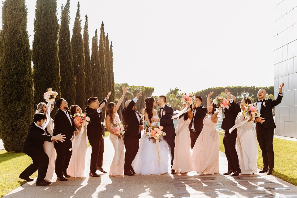 blush and pink wedding party dresses