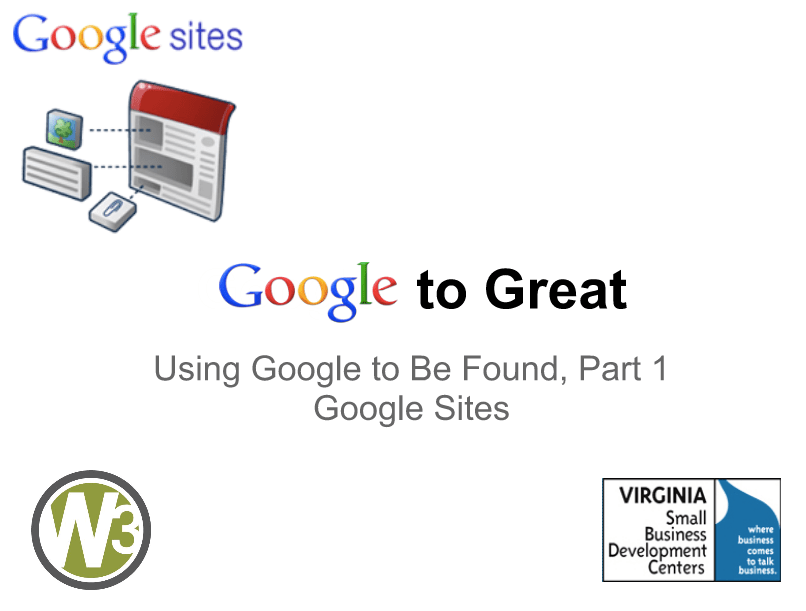 Google to Great Webinars: Google Sites