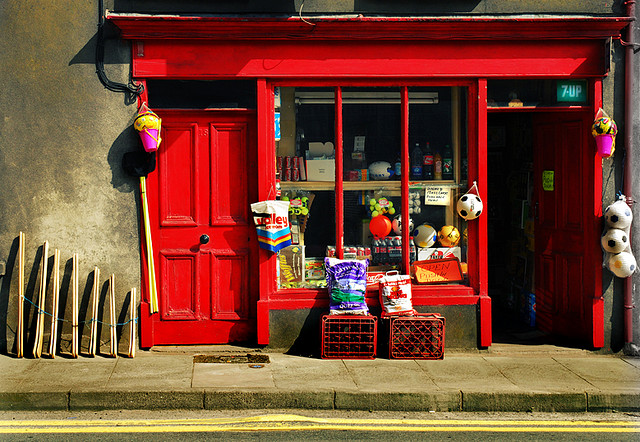Macroom shop, between Killarney and Cork City, is typical of small grocery type shops, until recently, common in Ireland.