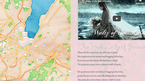 An image of the interactive story map for The Pink lady of Geneva transmedia project.