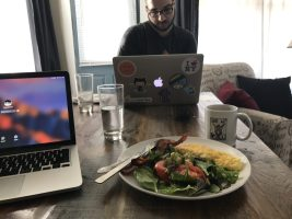 Coffee, coworking, and more cooking. My ideal morning.