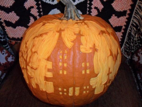 H linoleum cut pumpkin