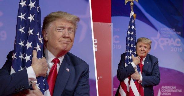 MC trump CPAC flag hugging1