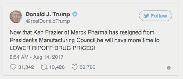 trump merck tweet