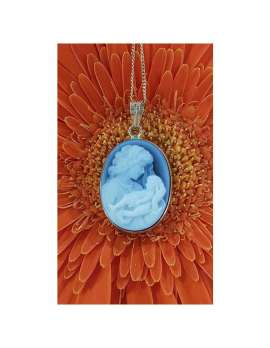 14ct Gold Blue Agate Oval Cameo Mother & Child Pendant on 9ct Chain
