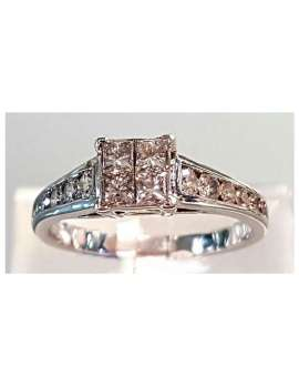 White gold square diamond ring