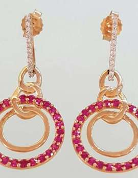 gold ruby and diamond drop earrings