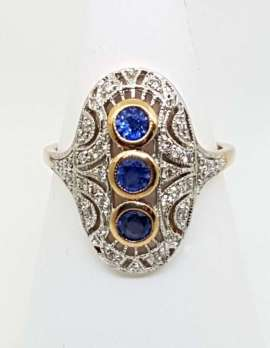 gold ring 9ct 3 sapphire and diamond ring