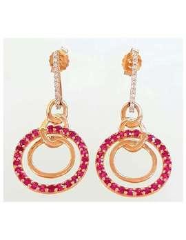 9ct Gold Ruby & Diamond Drop Earrings