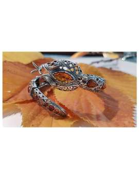 stirling silver snake bangle inset with amber decoration