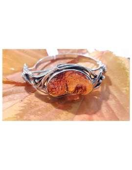 Sterling Silver Amber Bangle - Ornate Floral Design