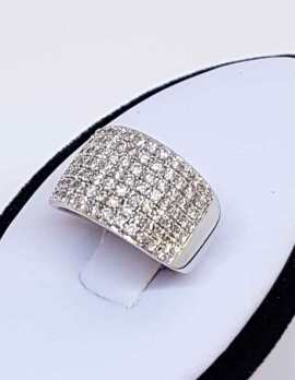 14 ct white gold diamond encrusted wide ring