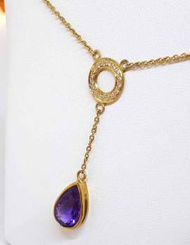 9ct gold pendant with amethyst drop