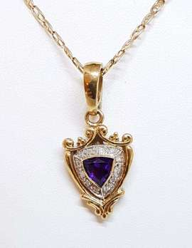 gold necklace amethyst and diamonds with crest design