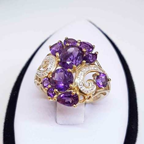 9ct Gold Amethyst and Diamond Cluster Ring