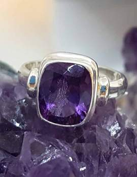 Large Square Amethyst Sterling Silver Ring
